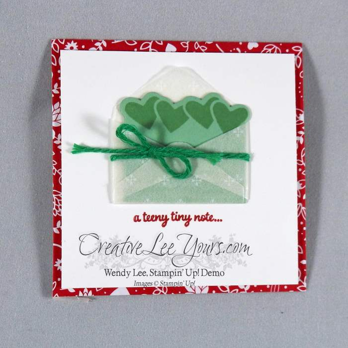 Love Notes by Wendy Lee, Stampin Up, #creativeleeyours, hand made card, valentine, sealed with love stamp set, love notes framelits