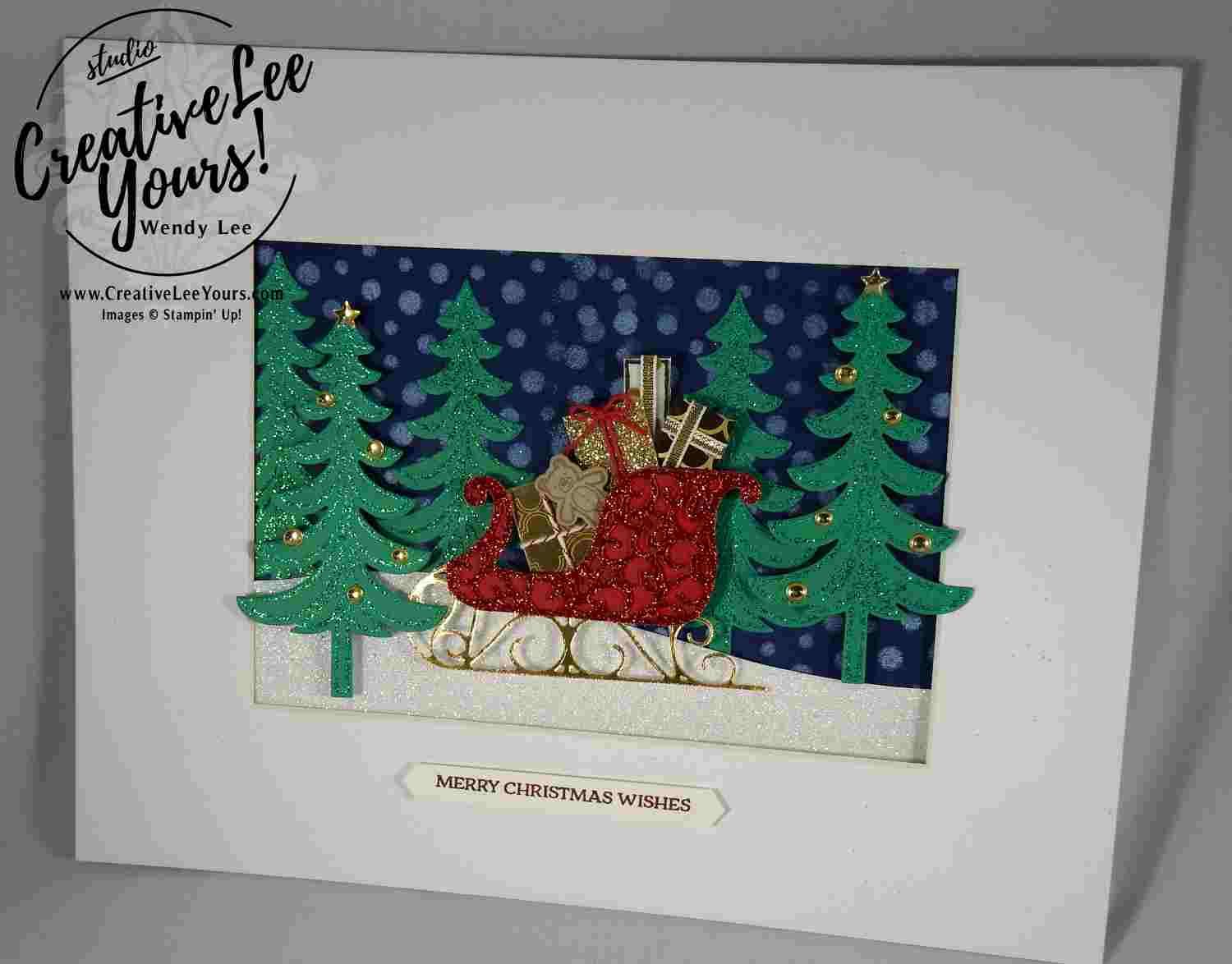 santas sleigh by wendy lee, stampin up, home decor, class, #creativeleeyours, santas sleigh stamp set, santas sleigh framelits