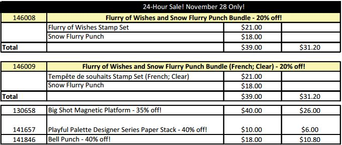 november-28-2016-flash-sale, stampin up, #creativeleeyours, wendy lee