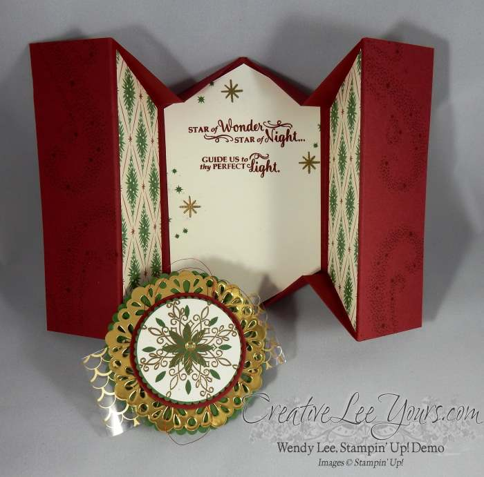 Christmas 5 Panel Fancy Fold by Wendy Lee, Stampin Up, #creativeleeyours, layering ovals, star of light stamp set, this christmas designer paper