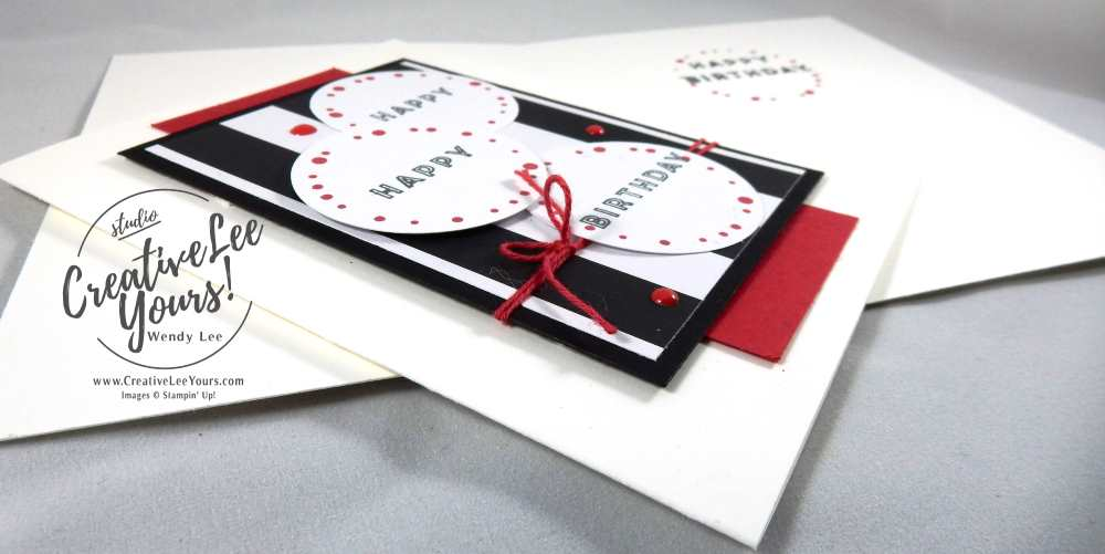 Happy Happy Birthday by Wendy Lee, Stampin Up, #creativeleeyours, December 2016 FMN class, June 2016 Banner Surprise Paper Pumpkin, hand made card