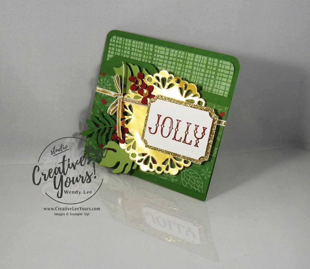 Mini File Folder Gift Card Holder by Wendy Lee, Stampin Up, #creativeleeyours, December 2016 FMN class, On, What Fun stamp set, Envelope punch board, christmas, hand made gift card holder, Botanical builder framelits