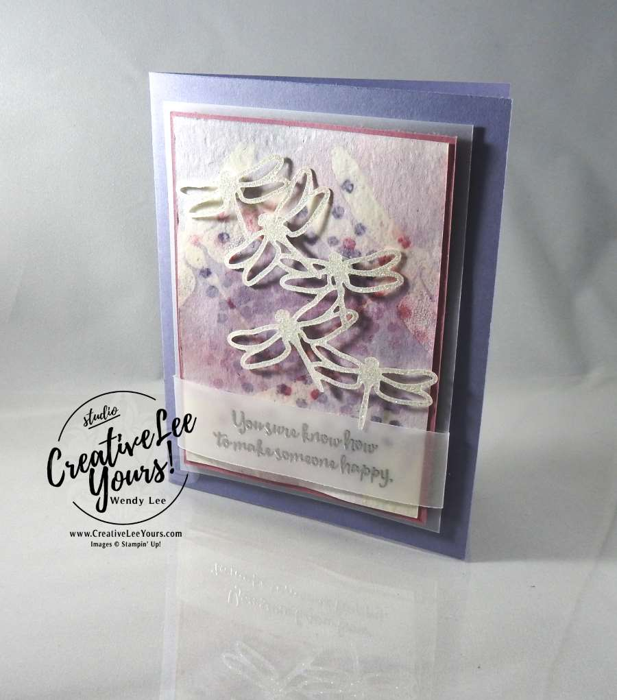 Watercolor Resist Shimmer Dragonflies by Wendy Lee, Stampin Up, #creativeleeyours, hand made thank you card, dragonfly dreams stamp set, detailed dragonfly thinlis