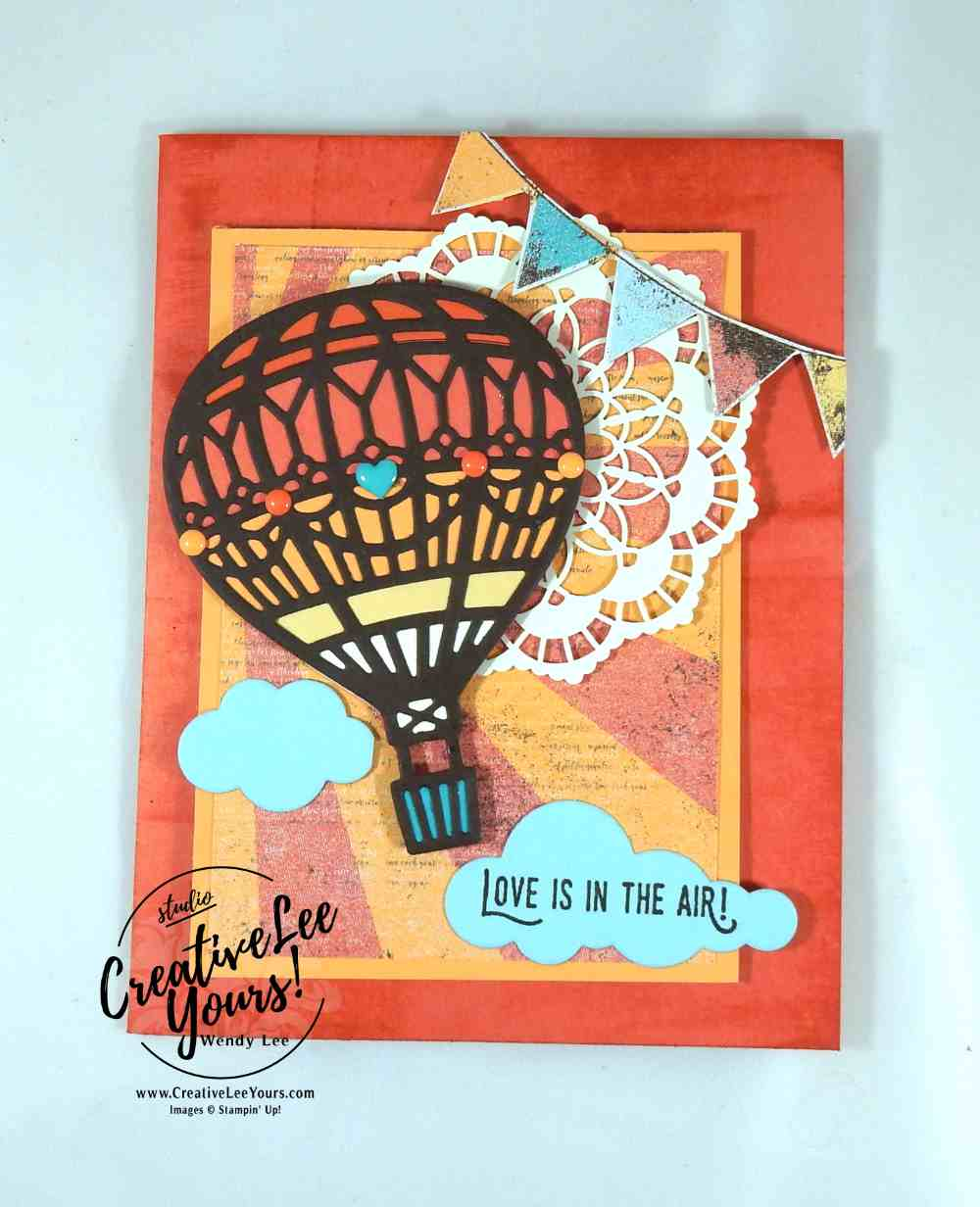 Love is in the Air Direct Ink to Paper by Wendy Lee, Stampin Up, #creativeleeyours, Lift me up stamp set, Bloomin love stamp set, up & away thinlits, January 2017 FMN class