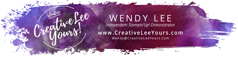 creativeleeyours.com header logo with Wendy lee, Stampin Up, #creativeleeyours, creatively yours