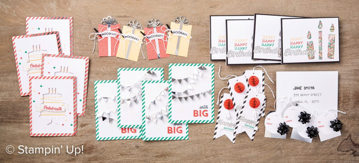 Bringing Birthdays Back Class-Birthday Bright Kit with Wendy Lee, Stampin Up, #creativeleeyours, Hand made birthday cards and tags