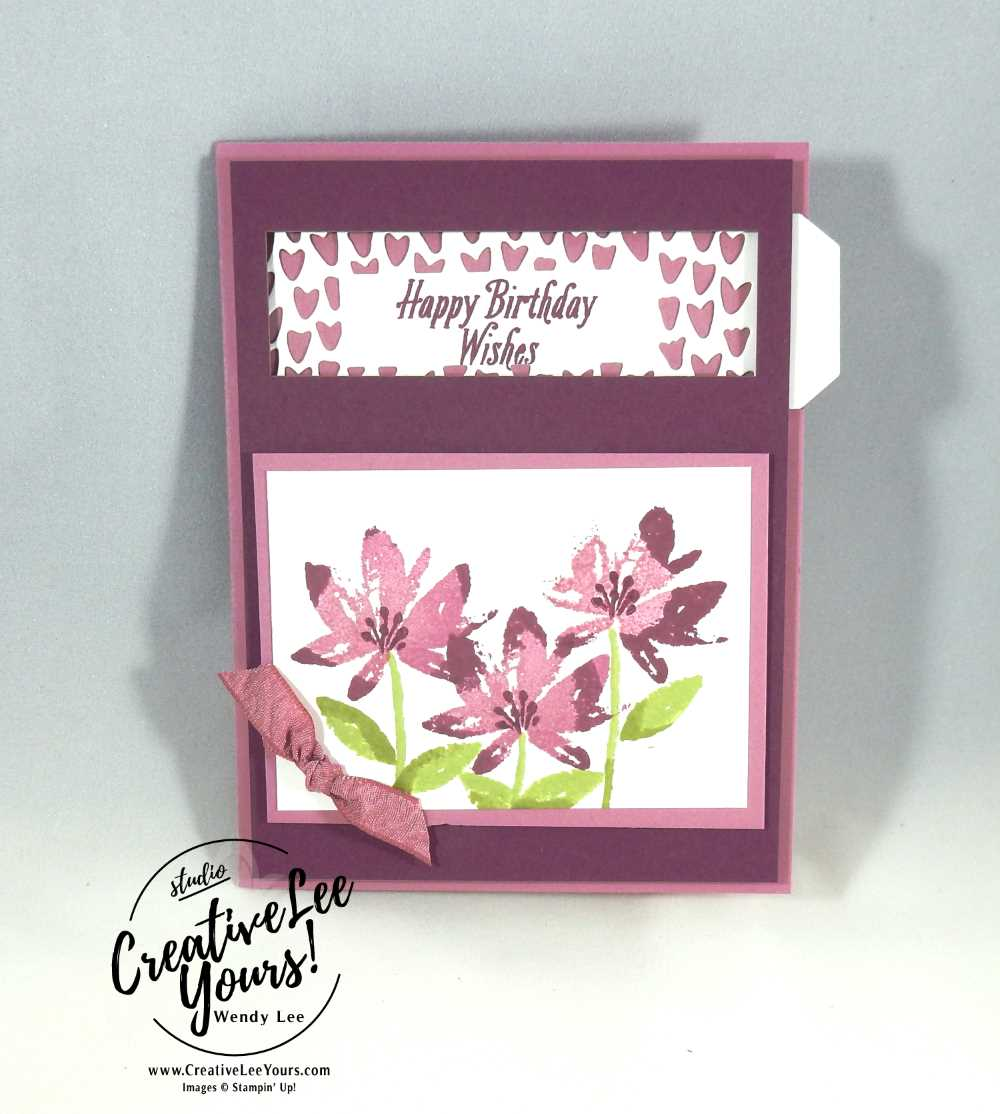 Rock & Roll Avant Garden by Wendy Lee,Pull Tab, Stampin Up, Avant garden stamp set, so detailed thinlits, fun fold, Hand stamped birthday card, #SAB2017, NC demos, hand made card, rock and roll technique