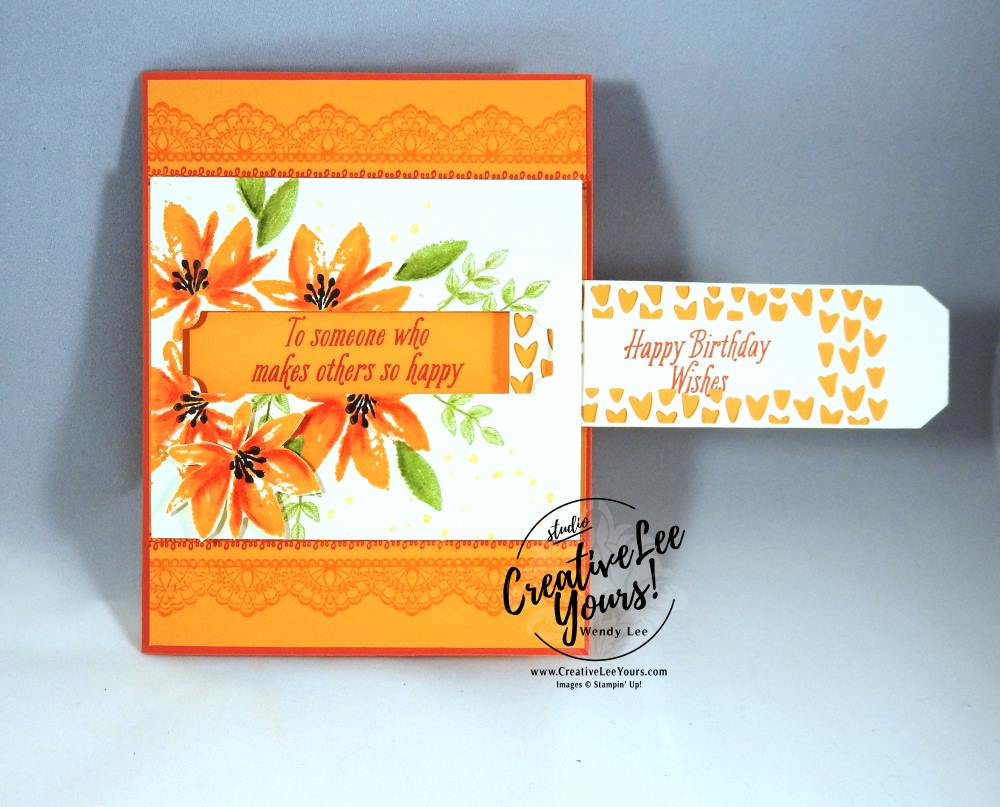 Watercoloring Solid Images Pull Tab by Wendy Lee, Stampin Up, Avant garden stamp set, Delicate Details stamp set, so detailed thinlits, watercolor pencils, fun fold, Hand stamped birthday card, #SAB2017, February 2017 FMN class