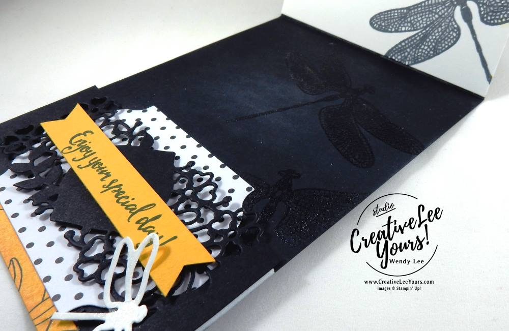 Dragonfly Dreams Easel by Wendy Lee, Stampin Up, #creativeleeyours, creatively yours, dragonfly dreams stamp set, detailed dragonfly thinlits, so detailed thinlits, rose garden thinlits, lot of Labels thinlits, stitched shapes framelits, embossing, February 2017 FMN class