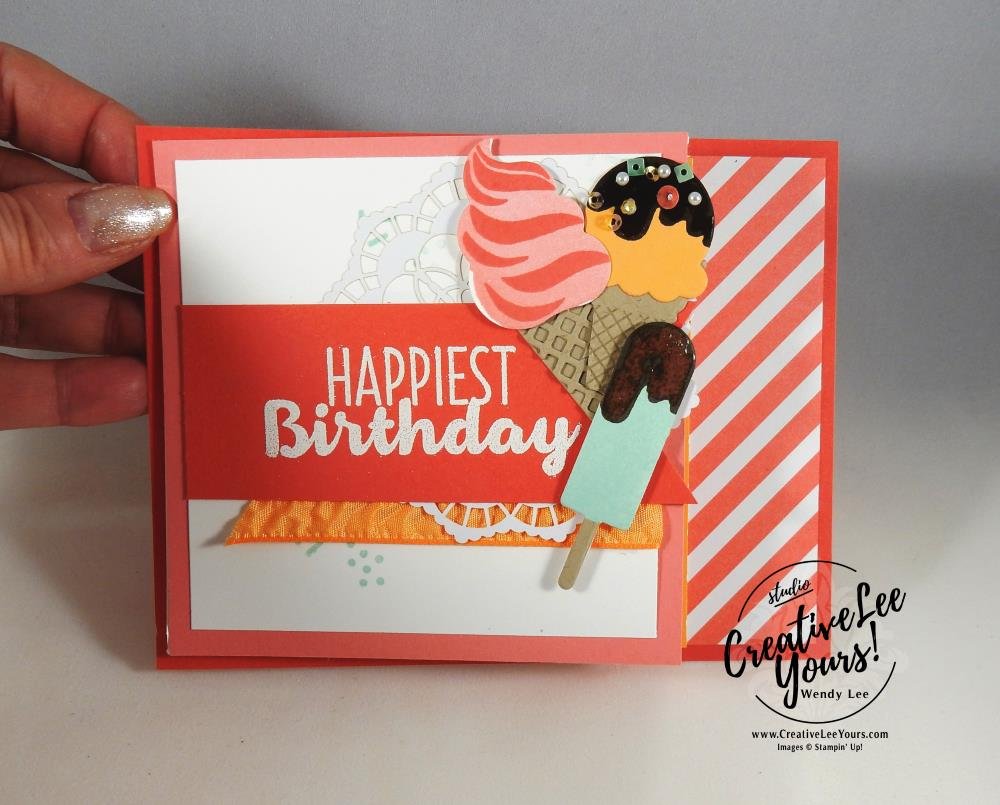 Raised Ink Twisted Easel by Wendy Lee, Stampin Up, #creativeleeyours, creatively yours, cool treats stamp set, frozen treats framelits, February 2017 FMN class, hand stamped birthday card, raised ink technique