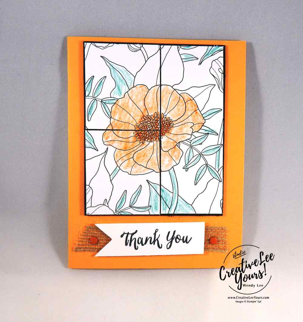 Inside the Lines Spotlighting with Betsy Batten, Stampin Up, Wendy Lee, #creativeleeyours, creatively yours,watercolor pencils, #SAB2017, hand made thank you card, diemonds team swap