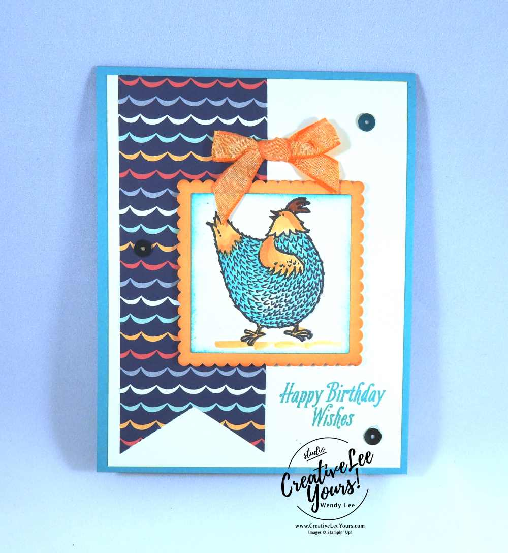 Birthday chick by Belinda Rodgers, Stampin Up, #creativeleeyours, creatively yours, Hey chick stamp set, carried away designer series paper, avant garden, dieminds team swap, #SAB2017, hand made birthday card