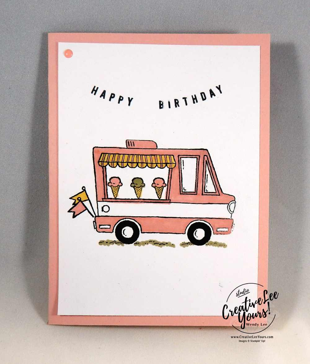 Tasty Trucks Birthday by Pam Lawson, Stampin Up, #creativeleeyours, creatively yours, tasty trucks stamp set, diemonds team swap, #SAB2017