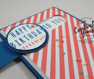 Many Happy Birthdays Pull Tab by Wendy Lee, Stampin Up, February 2017 Paper Pumpkin, #creativeleeyours, creatively yours, FMN Bonus card, birthday