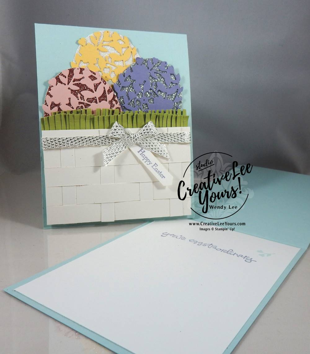 Happy Easter Basket by Wendy Lee, Stampin Up, #creativeleeyours, creatively yours, bloomin love stamp set, greatest greetings stamp set, teeny tiny wishes stamp set, layering ovals framelits, bloomin heart punch, March 2017 FMN clas,easter card, woven basket technique