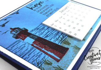 Lighthouse Hope Calendar by Zoe Williams, Stampin Up, #creativeleeyours, creatively yours, diemonds team swap, dragonfly dreams stamp set, detailed dragonfly thinlits, Wendy Lee