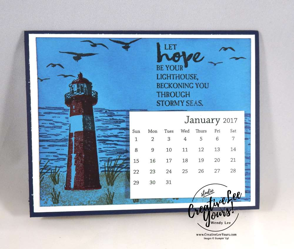 Lighthouse Hope Calendar by Zoe Williams, Stampin Up, #creativeleeyours, creatively yours, diemonds team swap, high tide stamp set, Wendy Lee