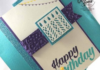 Hexagonal Pop-Up Birthday by Wendy Lee, Stampin Up, #creativeleeyours, creatively yours, birthday bright stamp set, window box thinlits, confetti embossing folder, #hexjumpup, fun fold, birthday card
