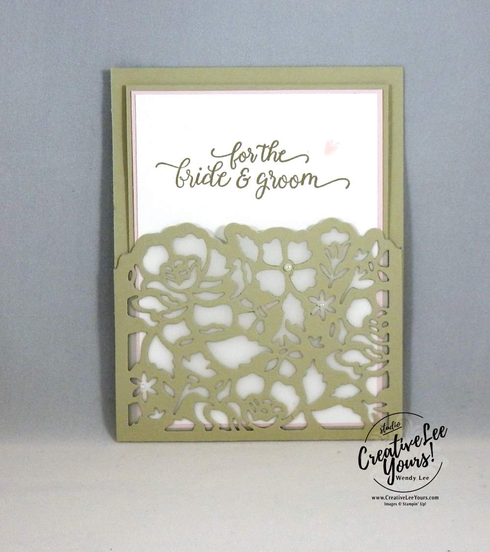 Detailed Floral Wedding by Wendy Lee, Stampin Up, #creativeleeyours, creatively yours, kylie bertucci international highlights, falling for you stamp set, detailed floral thinlits, hand made wedding card, anniversary