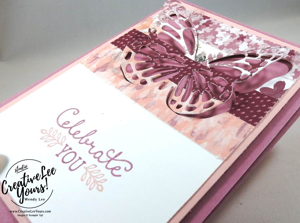 Celebrate You Butterfly by Wendy Lee, Stampin Up,#creativeleeyours,creativelyyours, bolf butterfly framelits, butterfly thinlits, suite sayings, raised butterfly, diemond team meeting