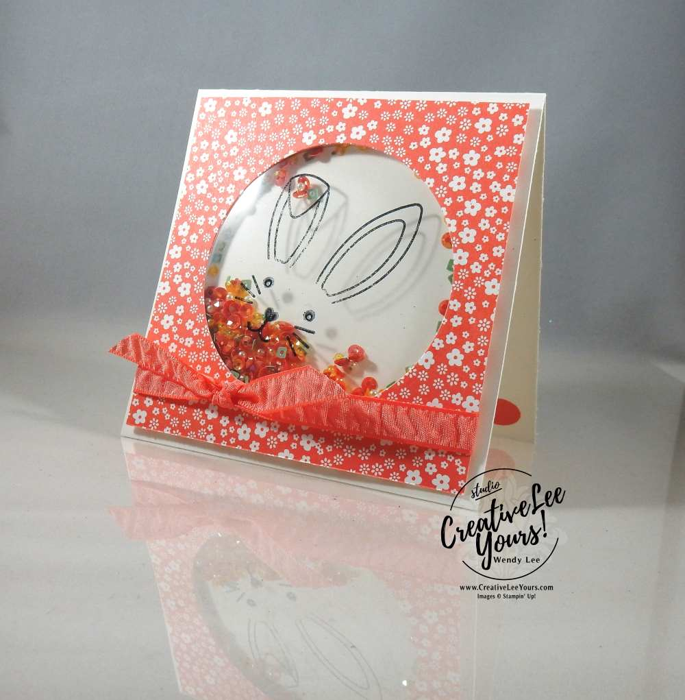 Bunny Buddies Shaker by Wendy Lee, Stampin Up, #creativeleeyours, creatively yours, April FMN class, Paper Pumpkin bonus card