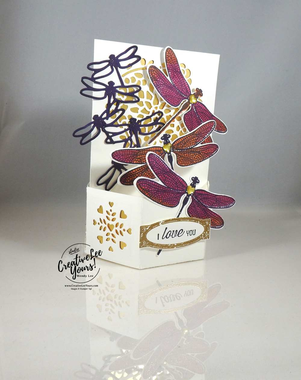 Hexagonal Base Pop-Up by Wendy Lee, Stampin Up, #creativeleeyours, creatively yours, April 2017 FMN class, Dragonfly Dreams Stamp set, Awesomely Artistic stamp set, Flourishing phrases stamp set, detailed dragonfly thinlits,windowbox thinlits, mothers day, pop-up card