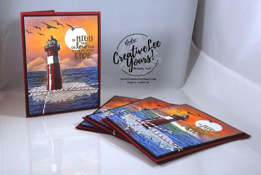 High Tide Sunset Burnishing/Masking with Wendy Lee, Stampin Up, #creativeleeyours, creatively yours, April 2017 FMN class, High Tide Stamp set, burnishing technique, masking technique, masculine card