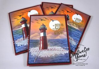 High Tide Sunset Burnishing/Masking with Wendy Lee, Stampin Up, #creativeleeyours, creatively yours, April 2017 FMN class, High Tide Stamp set, burnishing technique, masking technique, masculine card