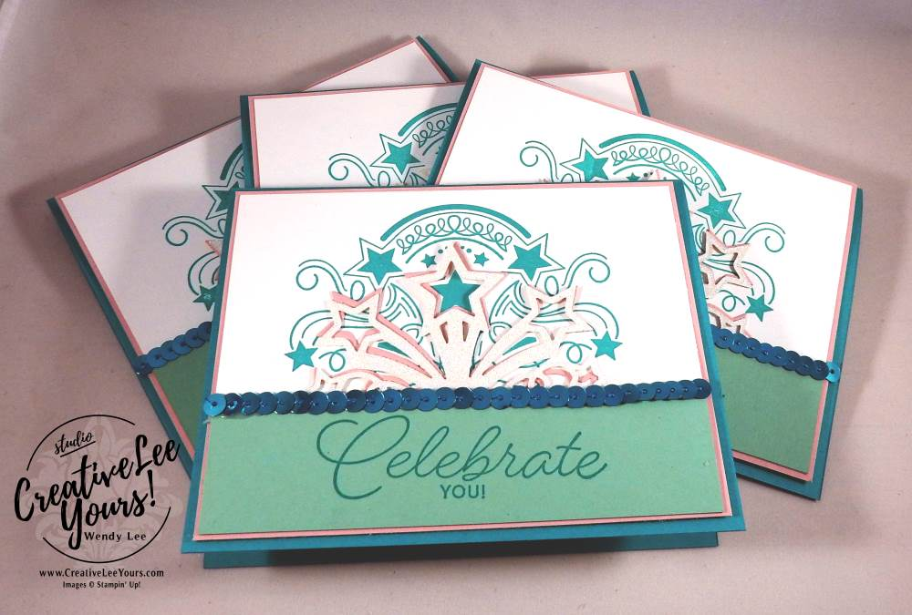 Celebrate You Pop-Up Stars by wendy lee, Stampin Up, #creativeleeyours, creatively yours, April 2017 FMN class, Birthday Blast Stamp set, star blast edgelits,pop up card, graduation, birthday