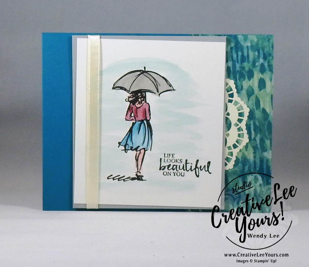 Beautiful You by Belinda Rodgers, Stampin Up, #creativeleeyours, creatively yours, diemonds team swap, beautiful you stamp set, watercoloring Wendy Lee