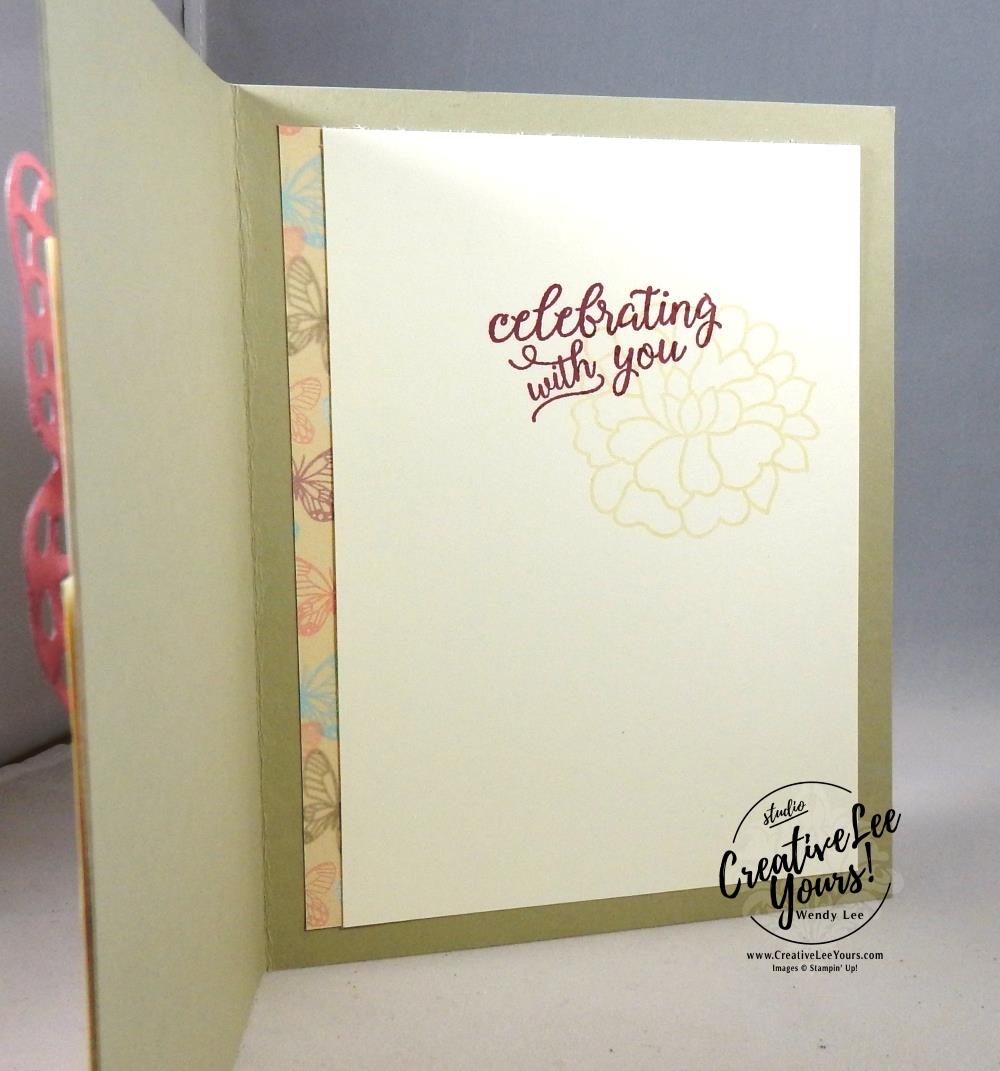 A Day to Celebrate by Wendy Lee, Stampin Up, #creativeleeyours, creatively yours, so detailed thinlits, butterfly thinlits, so in love stamp set,falling for you stamp set, wedding, anniversay, birthday