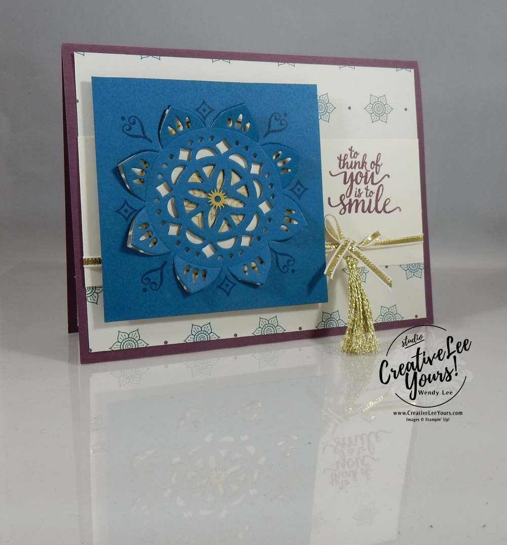 To Think of You is to Smile with Wendy Lee, Eastern Beauty stamp set, eastern medallion Thinlits, eastern palace bundle, stampin up, #creativeleeyours, creatively yours, handmade card