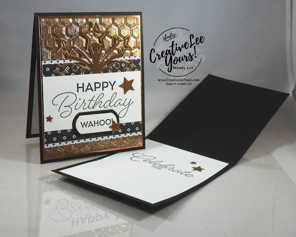 Tarnished Foil Birthday by Wendy Lee, Stampin Up, May 2017 FMN class, masculine birthday card, birthday blast stamp set,star blast edgelits, haxagon dynamic embossing folder