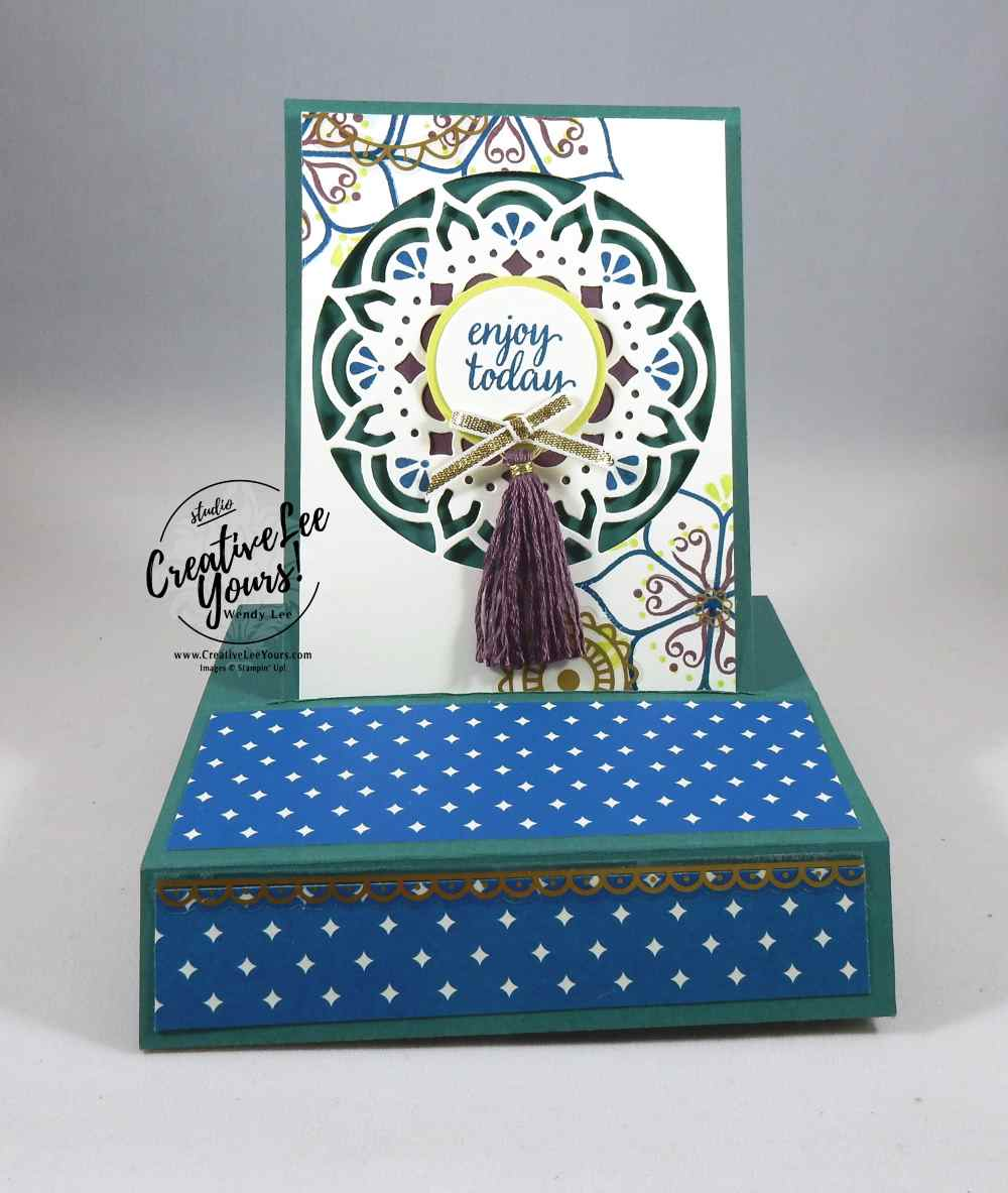Standing Pop-Up Medallion by Wendy Lee, Stampin Up, #creativeleeyours, creatively yours, Eastern Beauty stamp set, eastern medallion thinlits, May 2017 FMN class, cardmaking,hand made card, rubber stamps, stamping