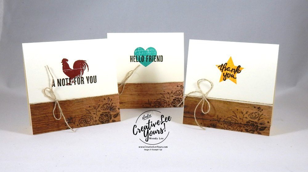 Wood Crates Gift Set with Wendy Lee, Stampin Up, stamping, rubber stamps, #creativeleeyours, creatively yours, wood words stamp set, hand made notecards, teacher gift, wood create framelits