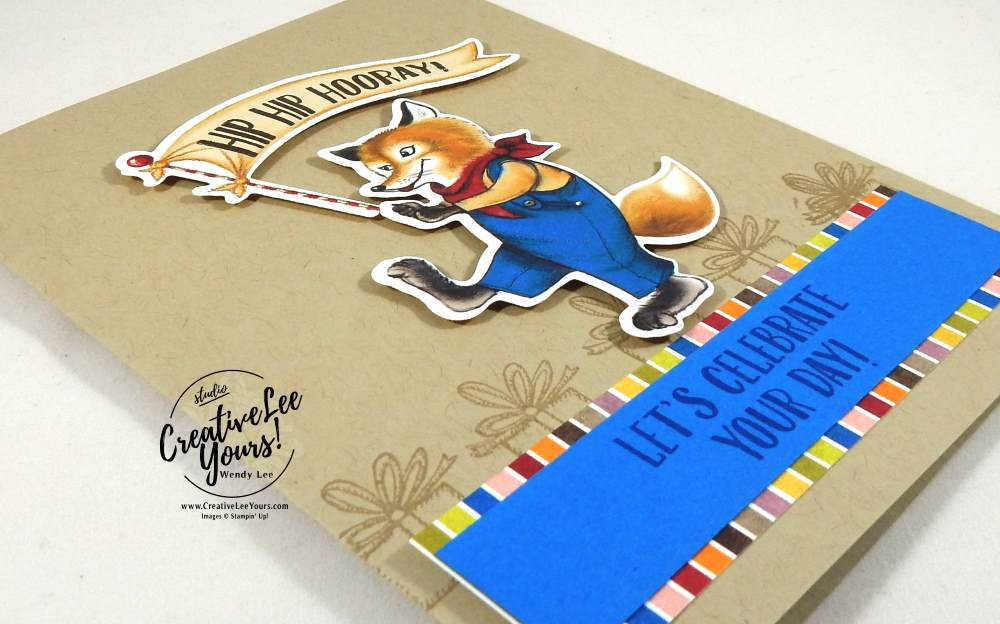 Birthday Fox by Wendy Lee, Stampin Up, #creativeleeyours, creatively yours, rubber stamps, handmade card, birthday delivery stamp set birthday friends framelits, Onstage April 2017