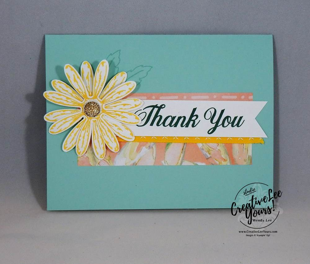 Simple Thank You by Wendy Lee,Stampin Up, #creativeleeyours, creatively yours,rubber stamps,stamping, handmade cards,daisy punch,delightful daisy stamp set, April 2017 OnStage