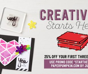 Creativity Starts Here Paper Pumpkin Promotion, Stampin Up, Wendy Lee, #creativeleeyours, handmade card, rubber stamps, stamping, project kits, subscription