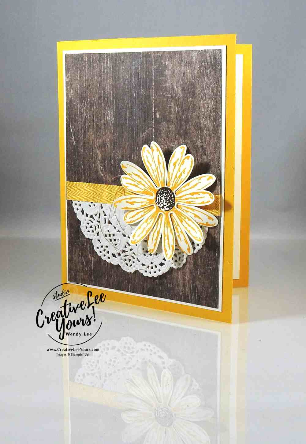 Simple Daisy by Wendy Lee, Stampin Up, #creativeleeyours, creatively yours,rubber stamps, handmade card, stamping, daisy delight stamp set, daisy bundle, diemonds team swap, thank you card