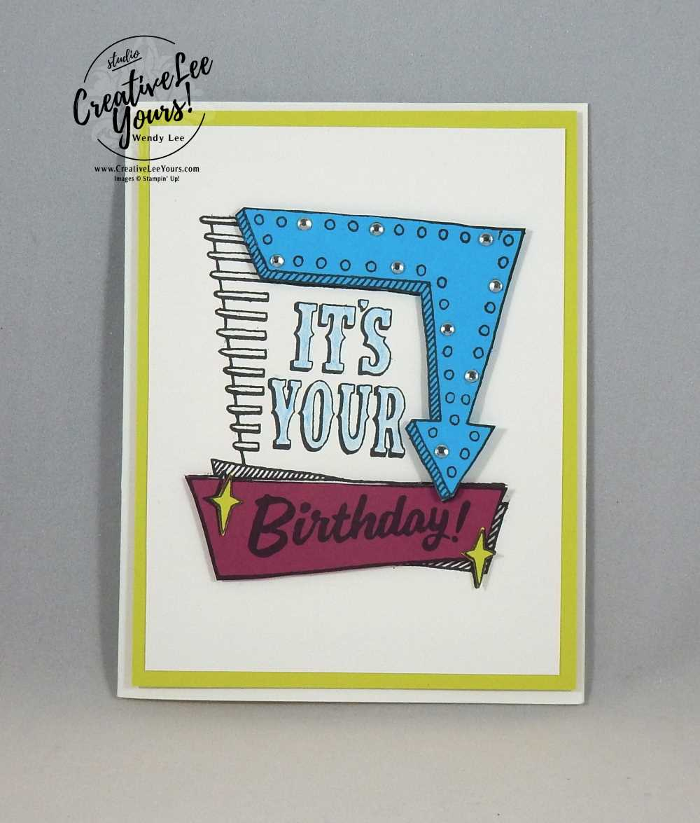 Marquee Birthday by Jen GD, Stampin Up, #creativeleeyours, creatively yours, Marquee messages stamp set, diemonds team swap, rubber stamps, handmade card