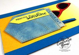 Pocket Full of Sunshine by Carol Curren, stampin Up, rubberstamps,stamping, handmade card,pocket framelits, pocket full of sunshine stamp set, diemonds team swap, masculine birthday card