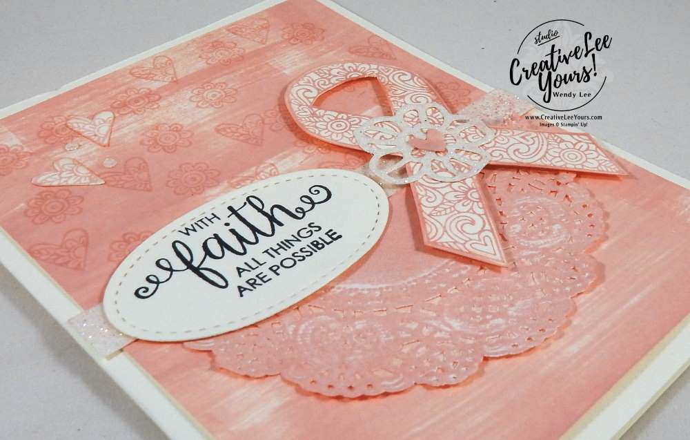 All Things Are Possible by Nancy Phillips, diemonds team swap,Stampin Up, direct ink to paper, stitched shapes framelits,delicate doilies,ribbon of courage stamp set, support ribbon framelits, rubber stamps, stamping, hand made card, rose garden thinlits