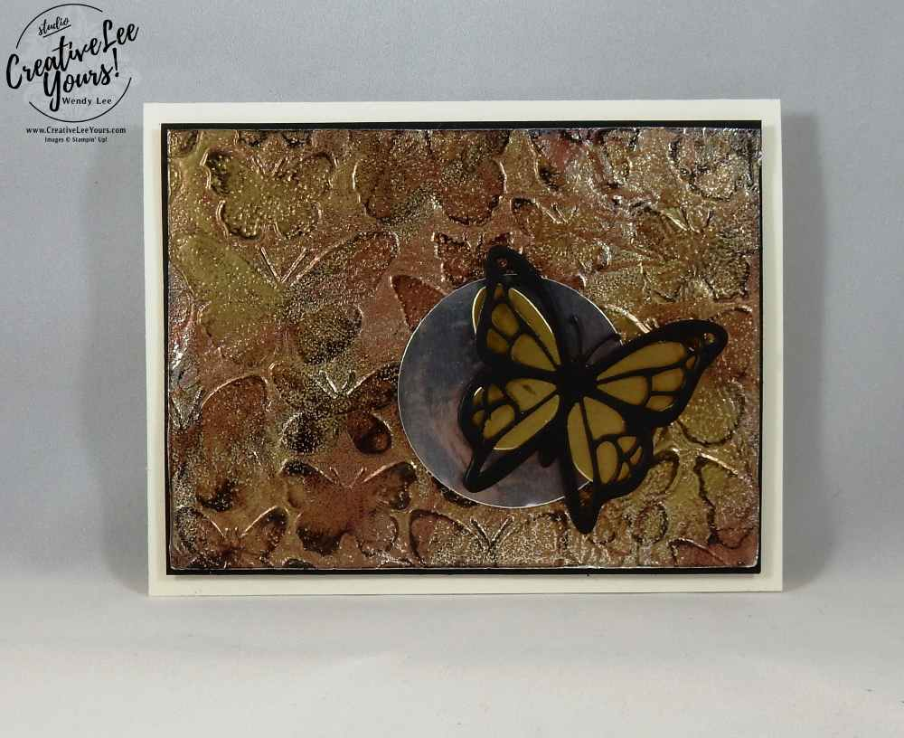 Tarnished Foil Butterflies by Wendy Lee, Stampin Up,stamping, rubber stamps, handmade card, fluttering, move me thinlits, butterflies thinlits, diemonds team meeting