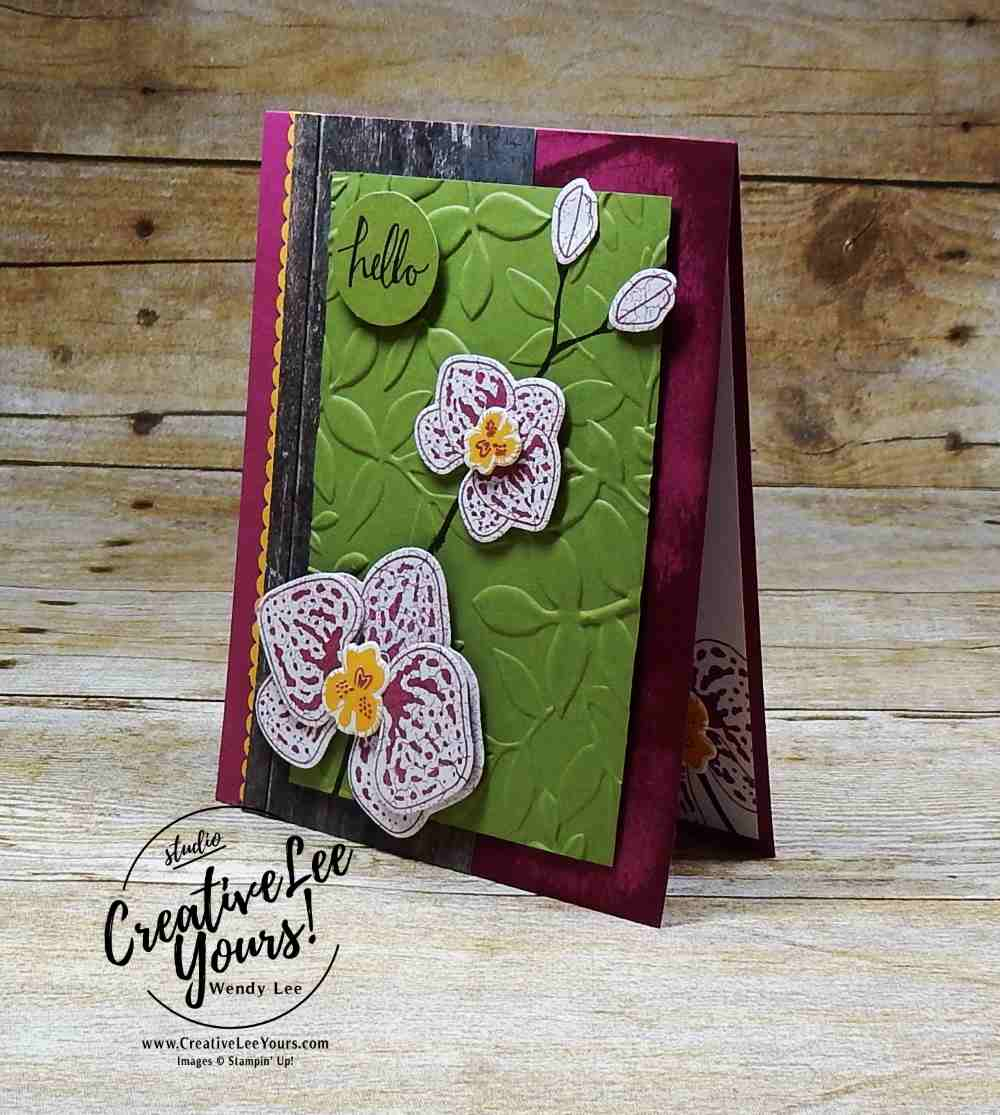 Climbing Orchid by Wendy Lee, Stampin Up, #creativeleeyours, creatively yours, stamping, rubber stamps, hand made card, climbing orchaid stamp set, orchid builder framelits, decorative ribbon punch,, July 2017 FMN class