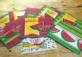 June 2017 One In A Melon Paper Pumpkin Kit by wendy lee, stampin up, handmade cards, rubber stamps, stamping, kit, subscription