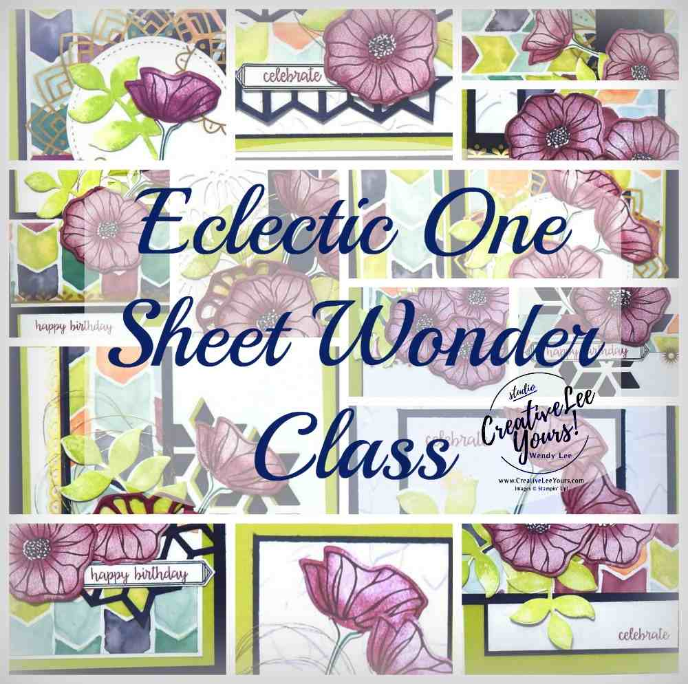 Eclectic one sheet wonder class by wendy lee, stampin up, #creativeleeyours, oh so eclectic stamp set, rubber stamps, stamping, cards, eclectic thinlits, online classes