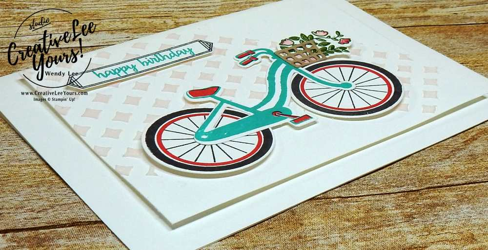 Birthday Bicycle by Jenn GD, Bike Ride Stamp Set,Build a Bike Framelits, diemond team swap, #creativeleeyours, wendy lee, rubber stamps, stamping, handmade card, Stampin Up, Wendy Lee