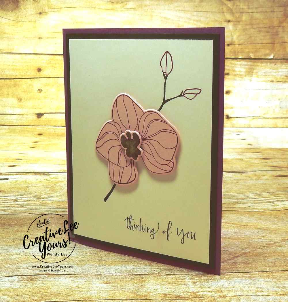Thinking of You Orchid by Jennifer Moretz, Stampin Up, Climbing Orchid stamp set, orchid builder framelits, diemond team swap, #creativeleeyours, wendy lee, runnber stamps, stamping, handmade card