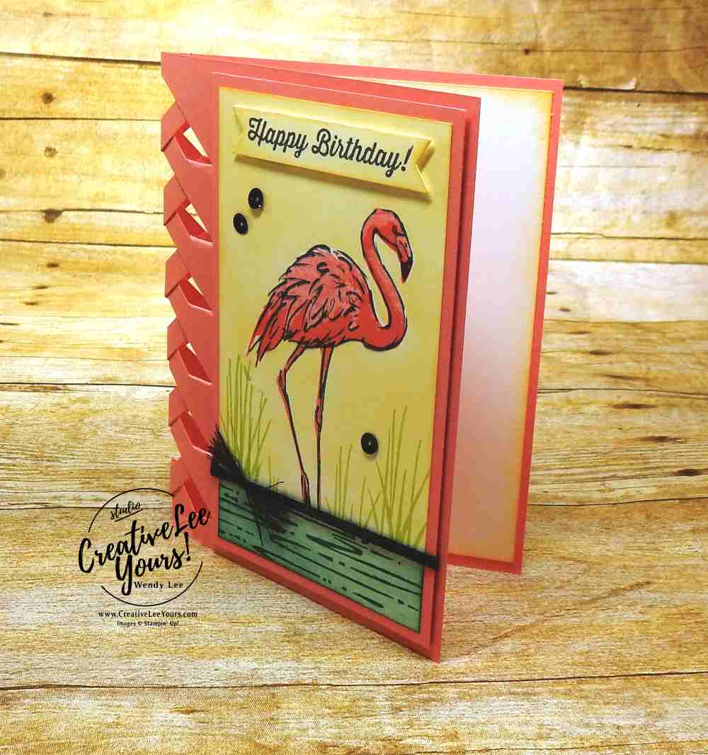 Fabulous Flamingo Stamp Set,wendy lee, stampin up, lattice fun fold,birthday,#stampinup,#cardmaking,#makeacardsendacard,#stamping, #handmadecard,#rubberstamps,birthday banners stamp set, birthday delivery stamp set,SU,#creativeleeyours, creatively yours,creative-lee yours, SU cards,diemonds team swap
