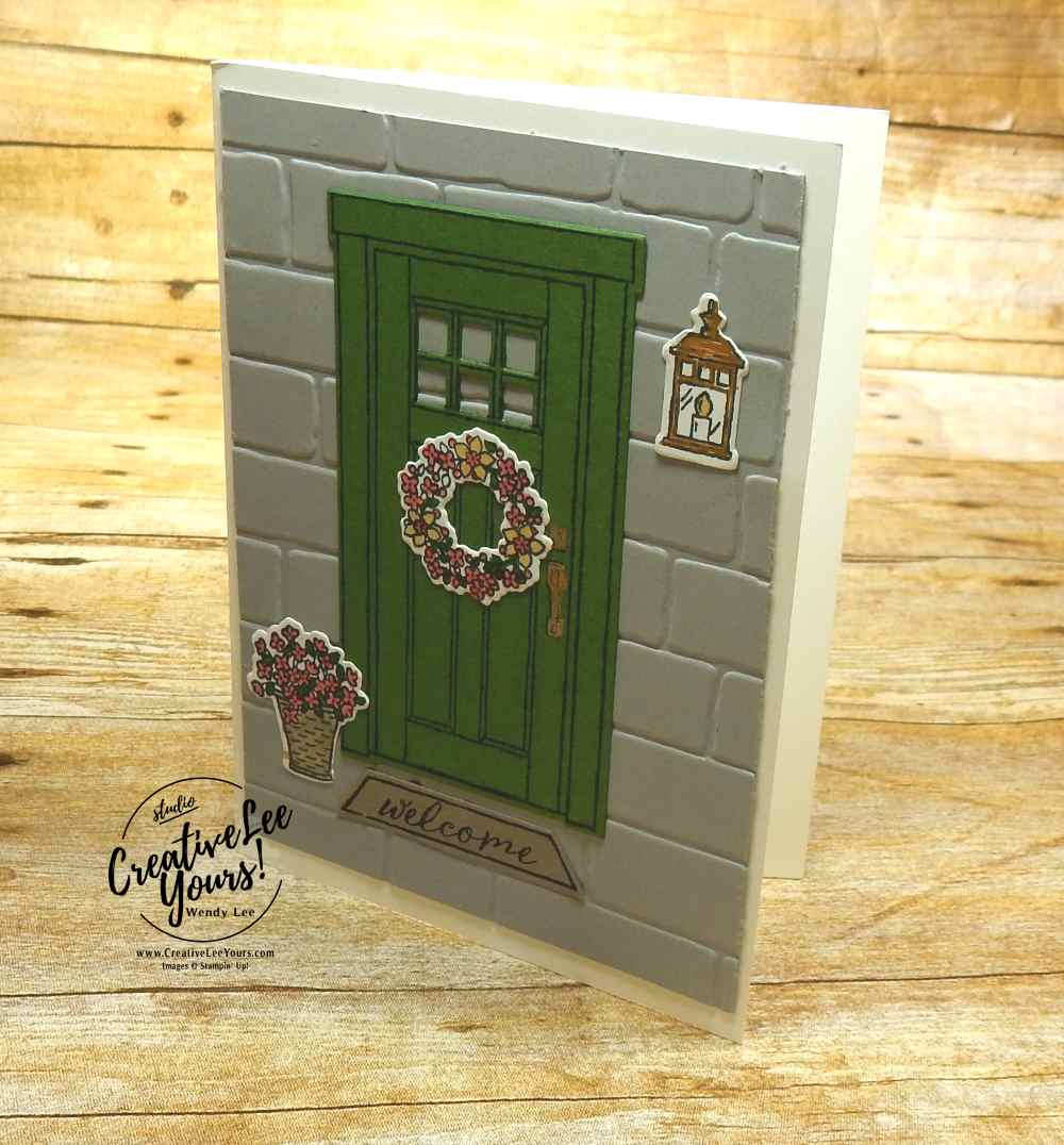 Spring doorway by Pam Lawson, Wendy Lee, creatively yours, creative-lee yours, Stampin Up, stamping, handmade, SU, #creativeleeyours, At Home with You Stamp Set, At Home Framelits Dies,diemonds team swap